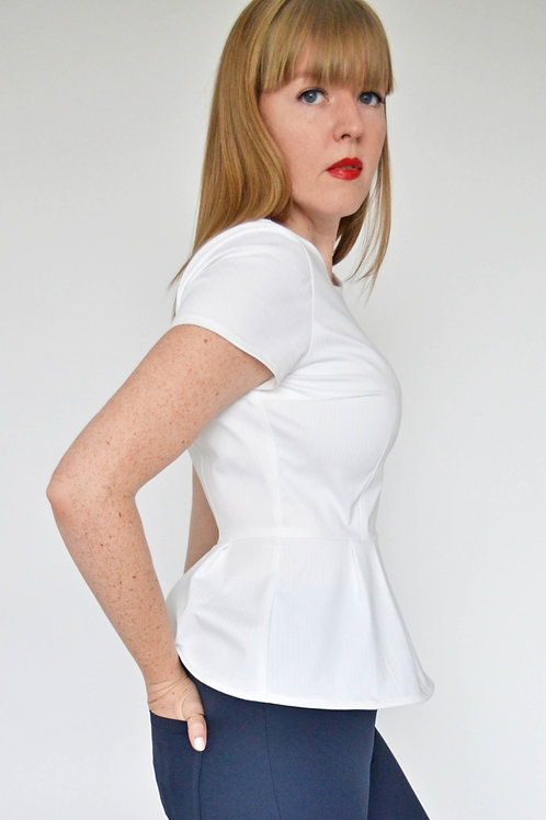 Sophia Top - White Herringbone