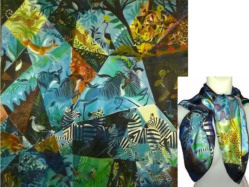 Blue Savanna Silk Satin Scarf