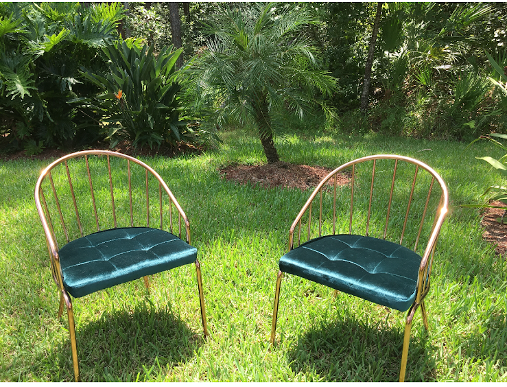 Teal and Brass Vintage Chairs