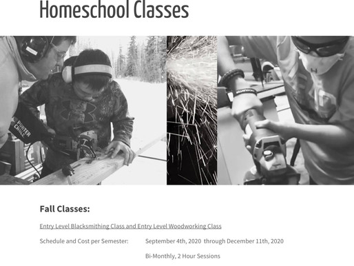 Blacksmithing and Woodworking Classes, Fall Semester 2020