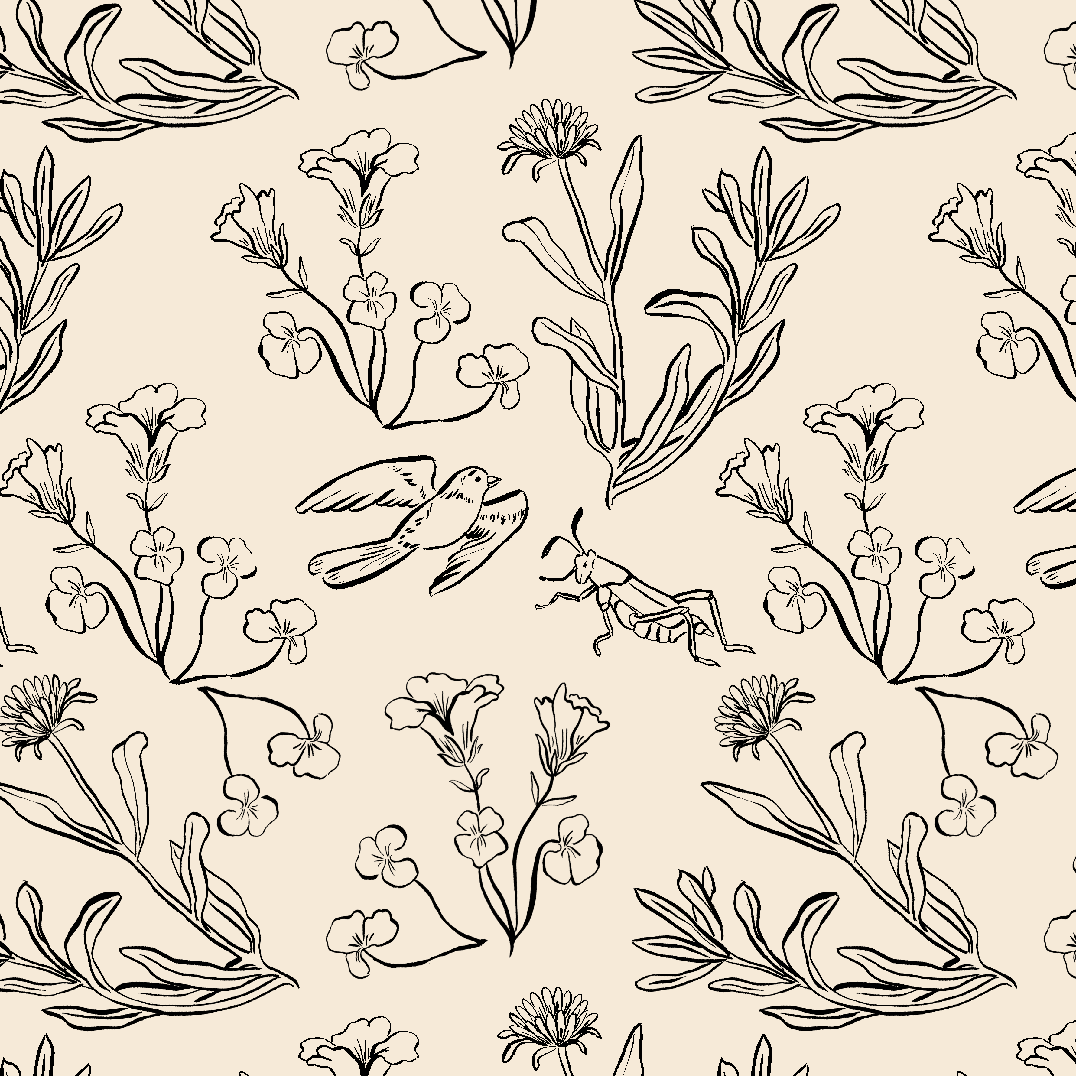 floral garden pattern SQUARE
