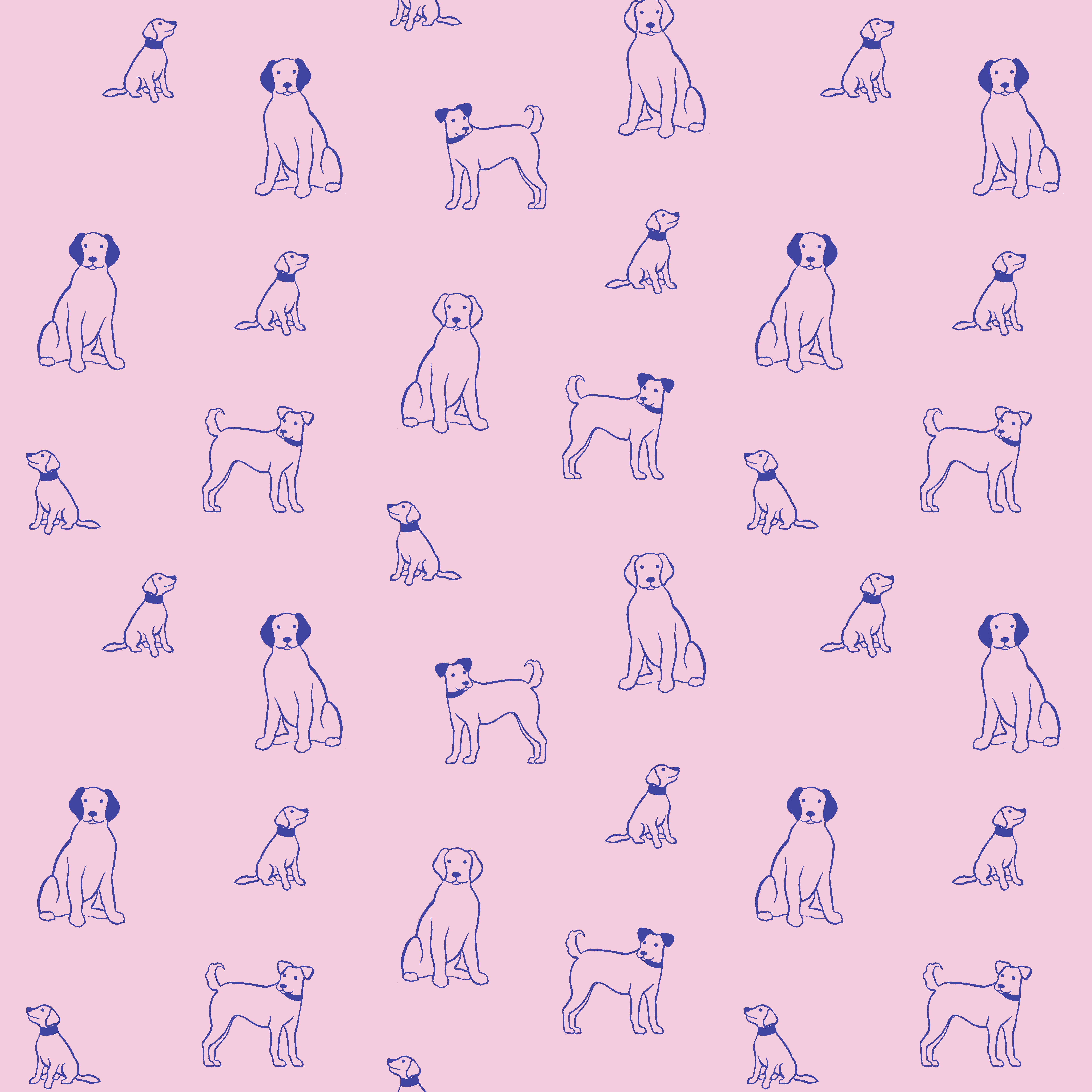 dog outline pattern pink blue sq