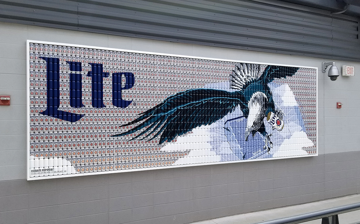 Hand Painted Beer Can Mosaic