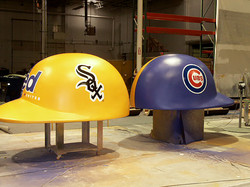 Cubs and White Sox Helmets