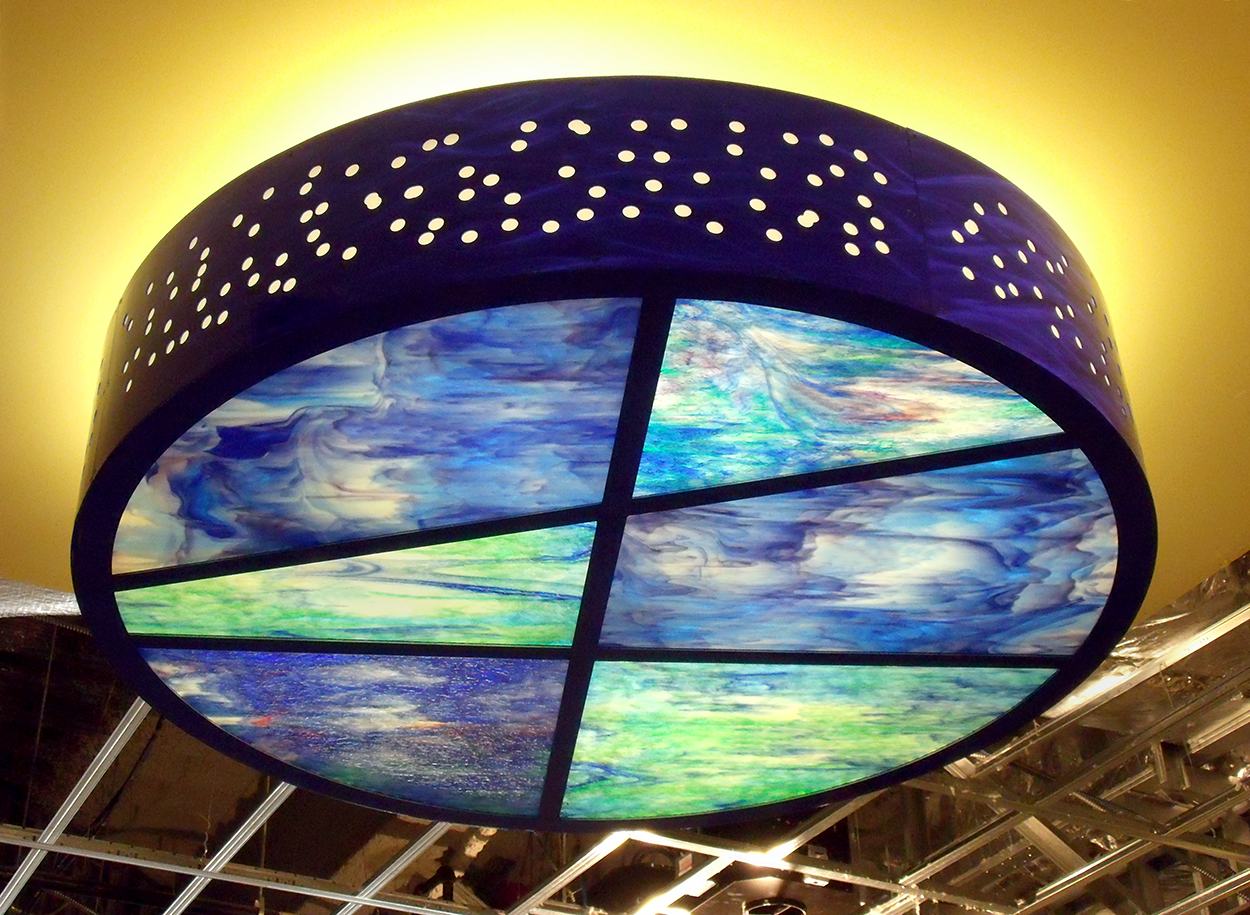 Light Fixture with Hand Made Art Glass