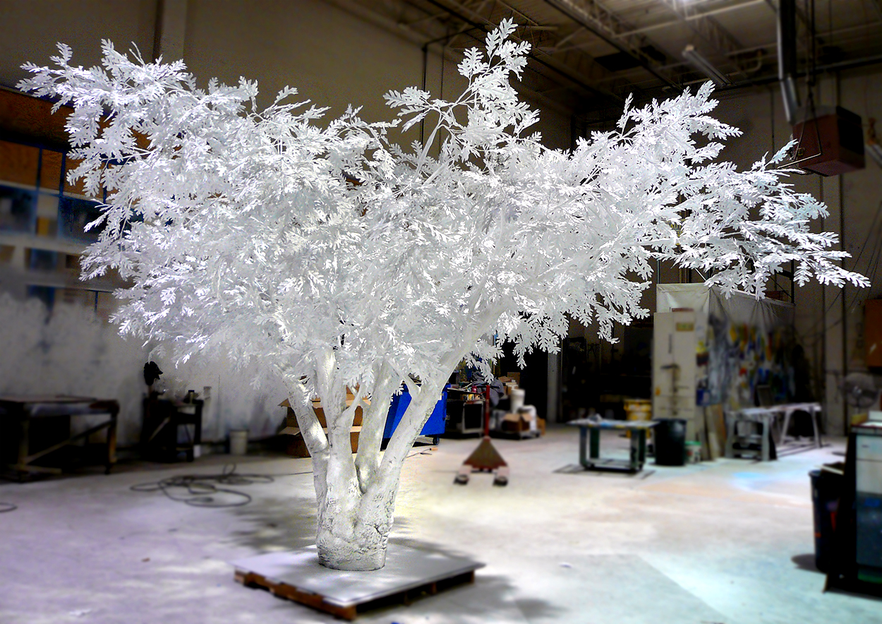 Snow and Ice Covered Tree Sculpture