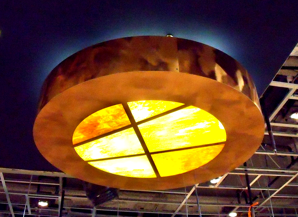 Copper Light Fixture with Integrated Art Glass