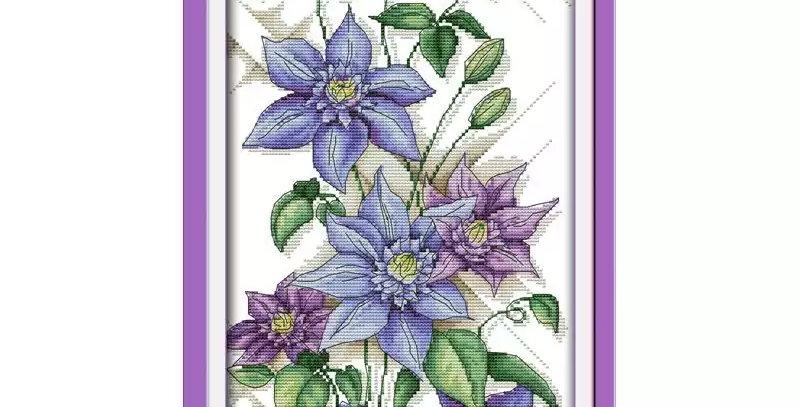 Kanvas Kanaviçe Etamin Kiti - Mavi Yıldız Çiçeği