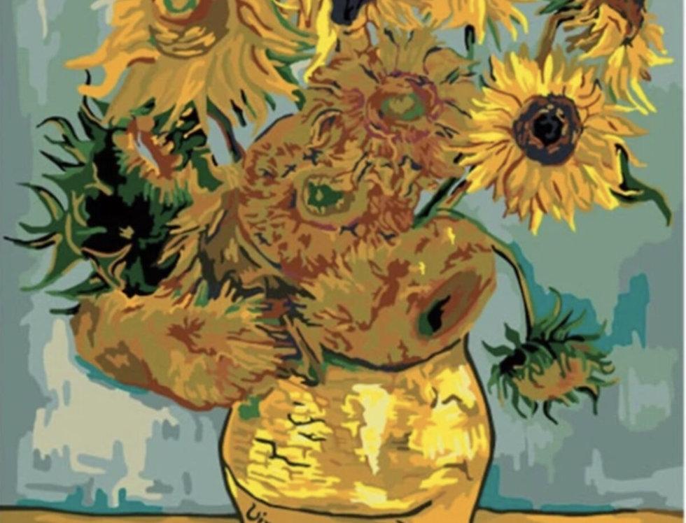 Numaralı Boyama Van Gogh Ayçiçeği Tablosu - Sayılarla Boyama Seti 40x50cm