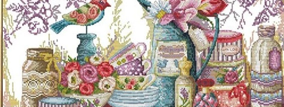 Kanvas Kanaviçe Etamin Kiti - Renkli Kuşlu Masa 53x37cm