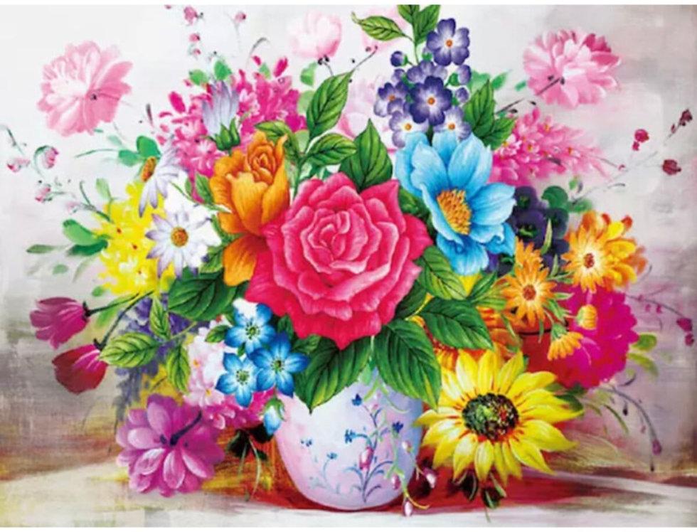 Sayılarla Elmas Boyama Hobi Seti - Vazoda Renkli Çiçekler 30x40 Cm