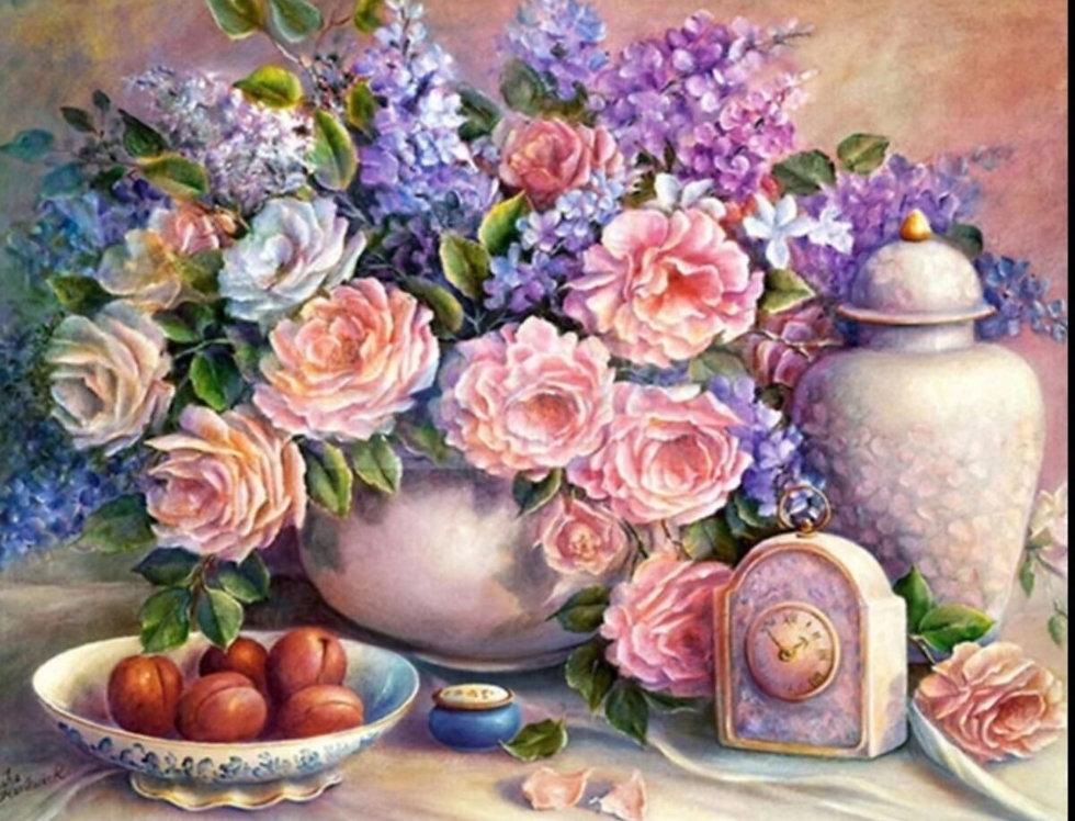 Sayılarla Elmas Boyama Hobi Seti - Ceviz Ve Çiçekler 30x40 Cm