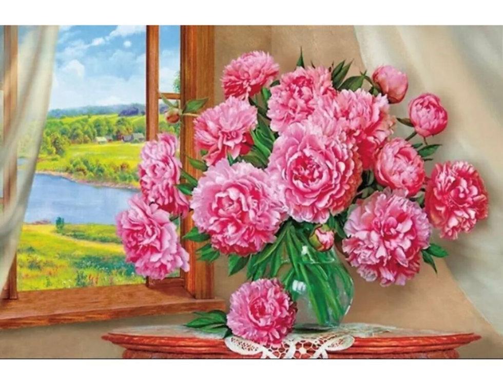 Elmas Boyama Seti - Cam Önü Pembe Çiçekler 30x40 Cm