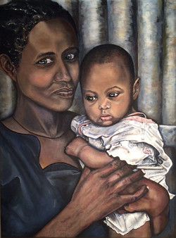 African Mother in a Blue Dress