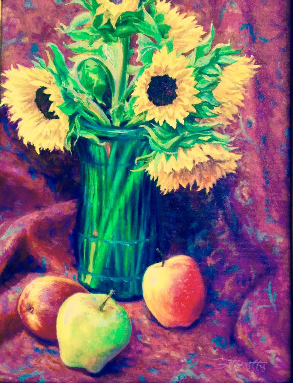 BDuffy_Summertime Sunflowers & Green Apples_Oil