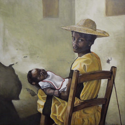 African Mother in a Yellow Dress