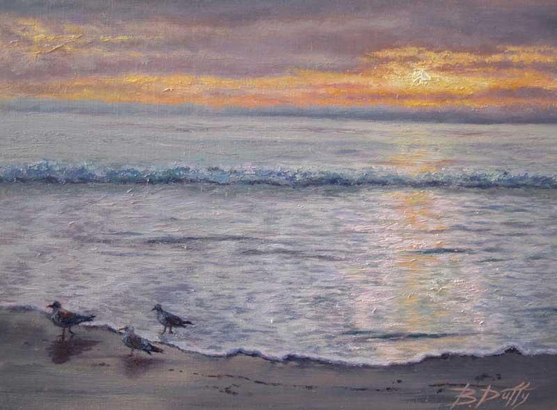 BDuffy-Scooting-Gulls-on-Sunset-TideCove