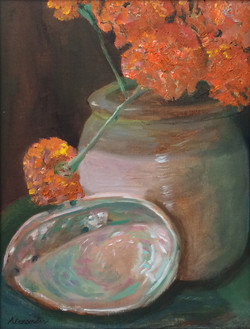 Marigolds with an Abalone Shell