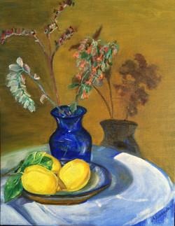 Cobalt Vase with Lemons cropped