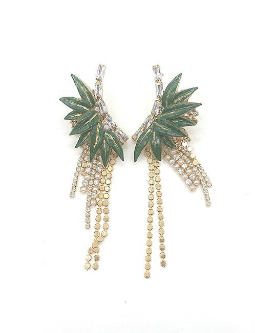Bamboo leaf rhinestone earrings