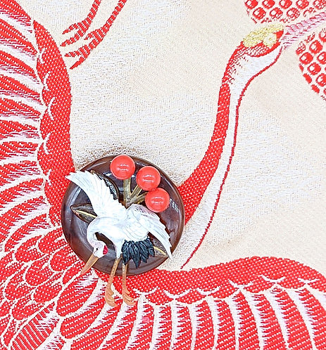 Handpainted crane brooch