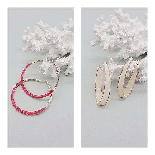 Cold enamel loop earrings