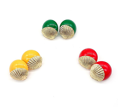 Vivid colour shell button earrings
