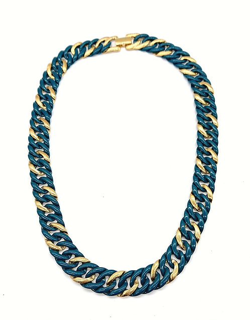 Napier teal and gold choker