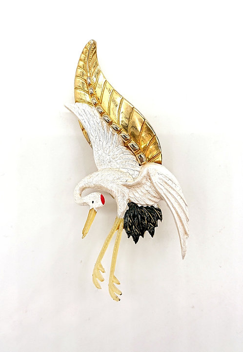 Vintage Sarah Coventry brooch with Crane