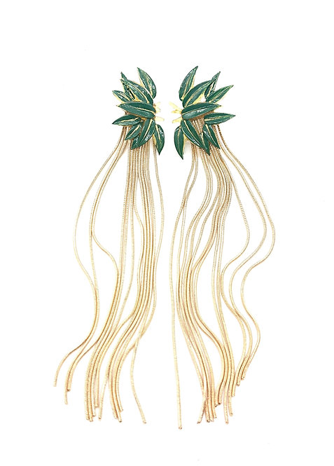 Bamboo fringe earrings