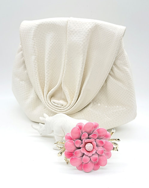 Coro pink floral brooch
