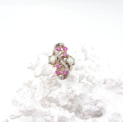Ruby and Opal Gold Ring