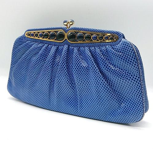 Judith Leiber blue clutch