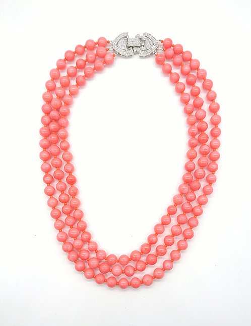 Coral colour 3 strands necklace
