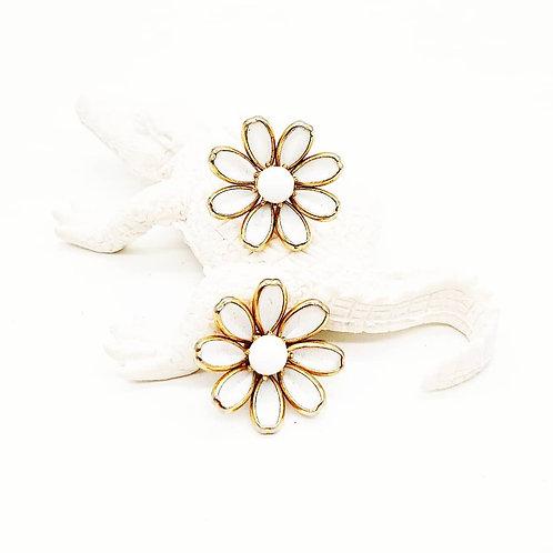 Trifari white flower clipons