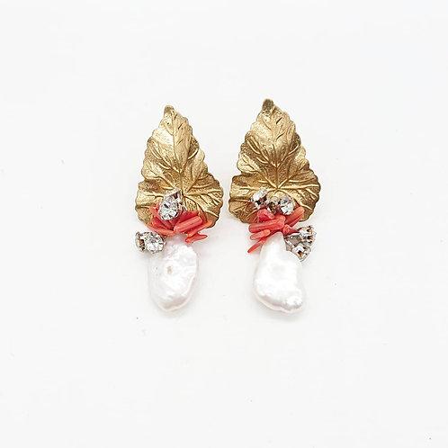 Handmade freshwater pearl and coral earrings