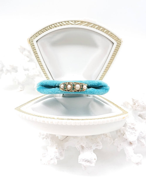 1874 Gold Ring with Emerald and Sea Pearl