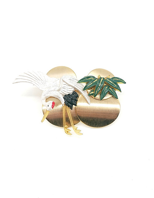Crane and bamboo earrings