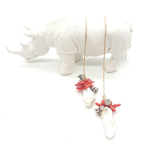 Dangling pearl and coral earrings
