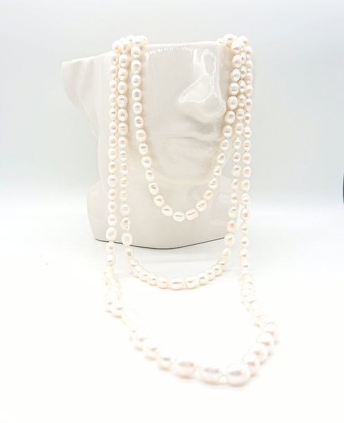 Gatsby style long pearl necklace
