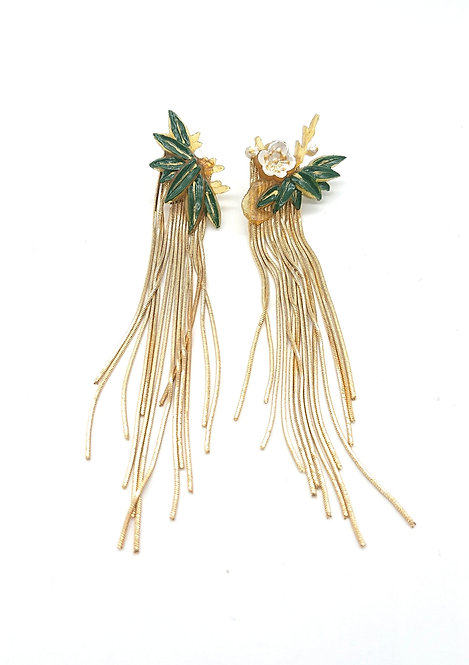 Bamboo and flower earrings
