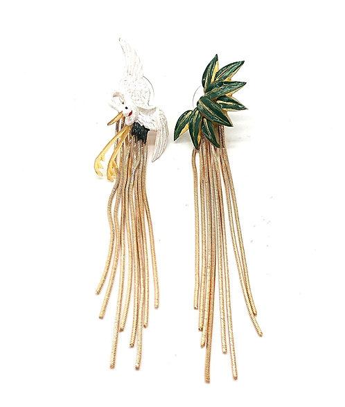 Stunning crane and bamboo leaf earrings