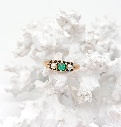 Sea Pearl and Emerald gold ring