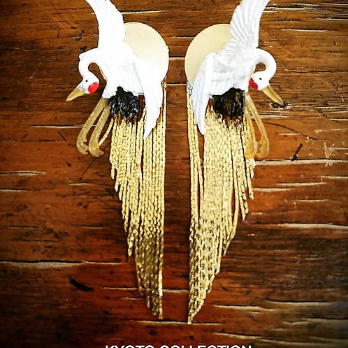 Kyoto pair of crane with golden fringe