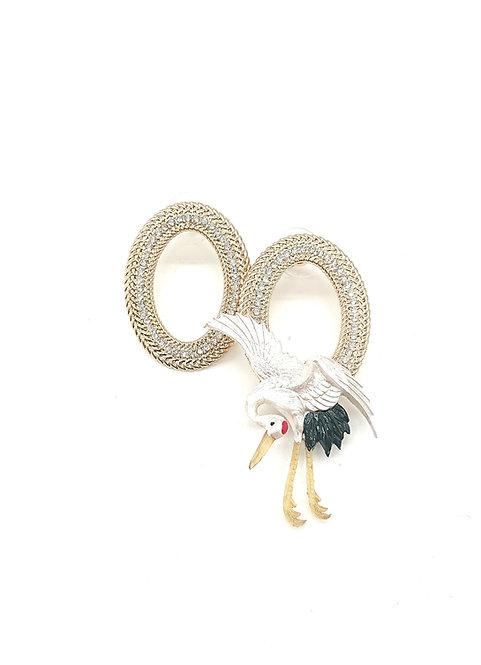 Crane on rhinestones earrings