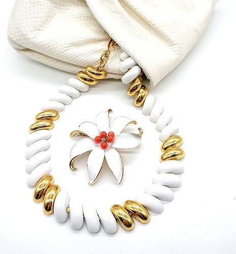 Kramer handpainted floral brooch