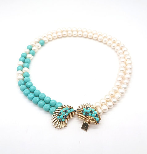 Trifari clasp with freshwater pearls and turquoise colour beads