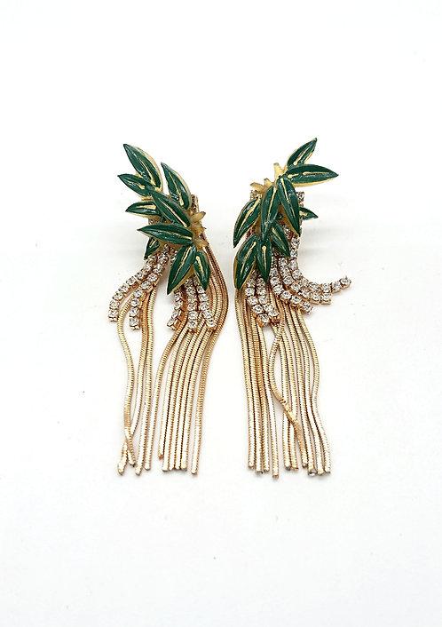 Bamboo leaf fringe earrings