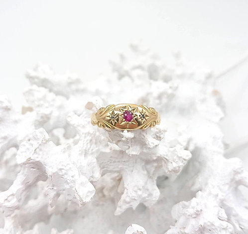 Antique Gold Ring with Ruby and Diamond