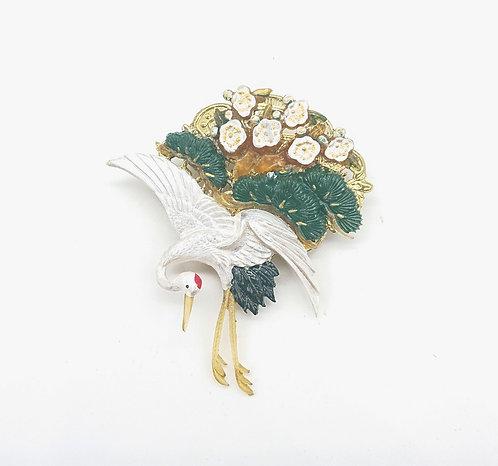 Crane in Garden brooch